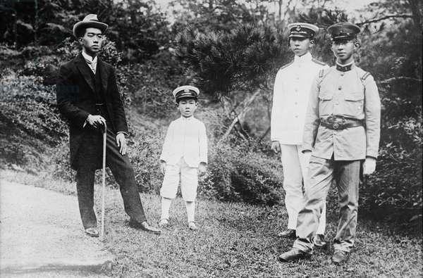 HIROHITO (1901-1989) Emperor of Japan, 1926-1989. Hirohito, left, photographed with his brothers, Prince Mikasa, Prince Takamatsu, and Prince Chichibu, 1921.