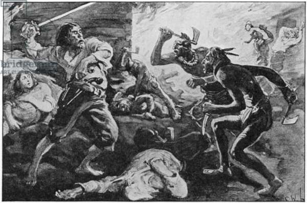 LACHINE MASSACRE, 1689 The Iroquois massacre of French settlers at the village of Lachine, near Montreal, Canada, on the St. Lawrence River, 5 August 1689. From the painting by C.W. Jefferys.