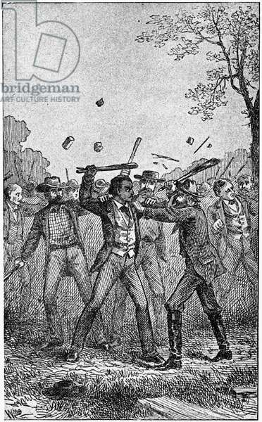 FREDERICK DOUGLASS ( c.1817-1895). American abolitionist. Douglass resisting a mob during an anti-slavery meeting in Pendleton, Indiana in 1843. Wood engraving from his autobiography, 'Life and Times of Frederick Douglass,' 1892.