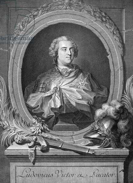 LOUIS XV (1710-1774) King of France, 1715-1774. Copper engraving, French, 18th century.