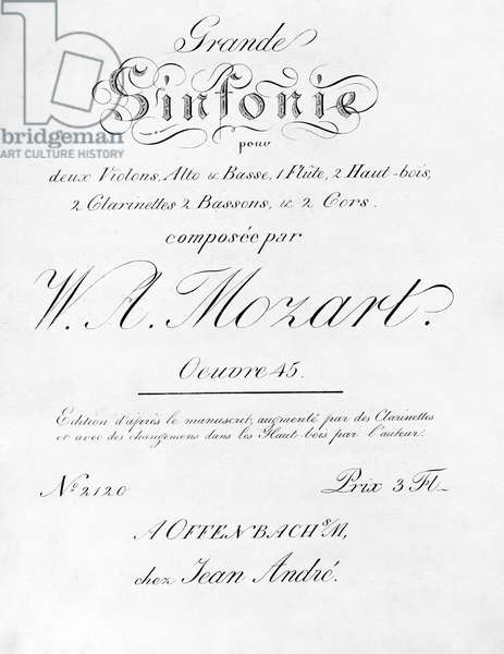 MOZART: SYMPHONY #40 Title page for 'Symphony No. 40 in G Minor K. 550,' by Wolfgang Amadeus Mozart.