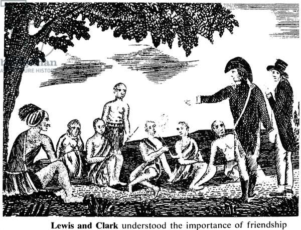 LEWIS AND CLARK EXPEDITION Meriwether Lewis (wearing cocked hat) and William Clark having a council with friendly Native Americans during the 1804 expedition. Copper engraving, 1811, from the account of Patrick Gass, a member of the expedition.