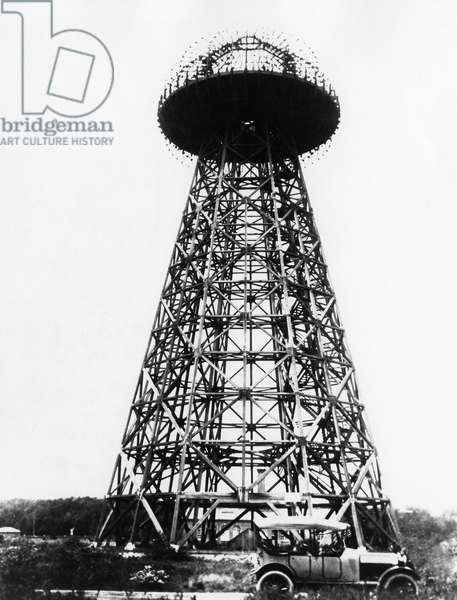 WARDENCLYFFE TOWER, c.1910 Wardenclyffe Tower, also known as Tesla Tower, a wireless telecommunications tower designed by Nikola Tesla in Shoreham, Long Island. It was begun in 1901 but never completed. Photograph, c.1910.