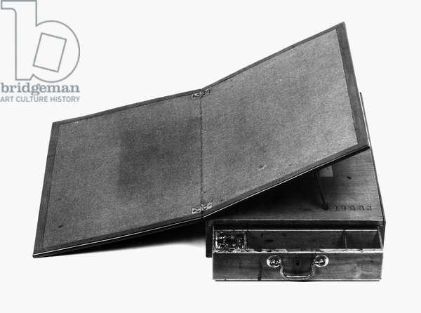 THOMAS JEFFERSON: DESK Mahogany portable writing desk designed by Jefferson and built by Benjamin Randolph, c.1775.