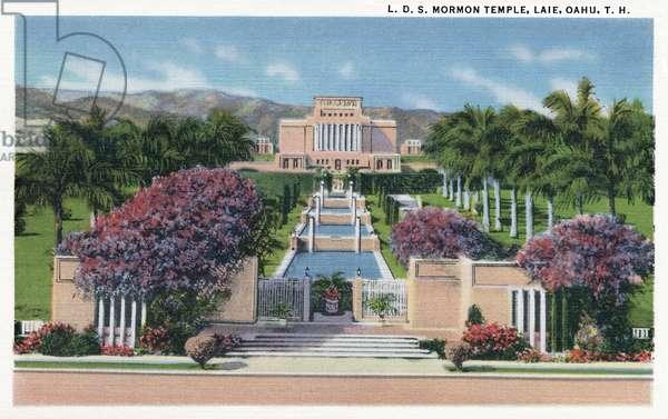 HAWAII: MORMON TEMPLE, 1935 The Laie Hawaii Temple of the Church of Jesus Christ of Latter-Day Saints in Honolulu, Hawaii. Postcard, American, 1935.