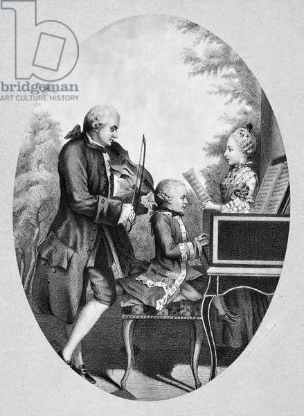 WOLFGANG AMADEUS MOZART  (1756-1791). Austrian composer. Mozart with his father, Leopold, and sister, Marianne. Lithograph, 19th century, after a watercolor, 1764, by Louis Carrogis, known as Carmontelle.