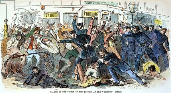 NEW YORK: DRAFT RIOTS Charge of the police on the rioters at the Tribune office in Printing House Square during the New York City Draft Riots of 13-16 July 1863: contemporary coloured  engraving.