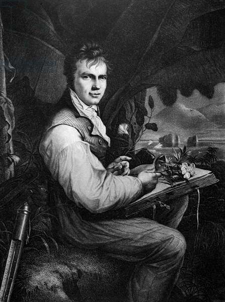 ALEXANDER von HUMBOLDT (1769-1859) German naturalist. Humboldt collecting along the Orinoco. Engraving by J.J. Freidhoff after F.G. Weitsch.