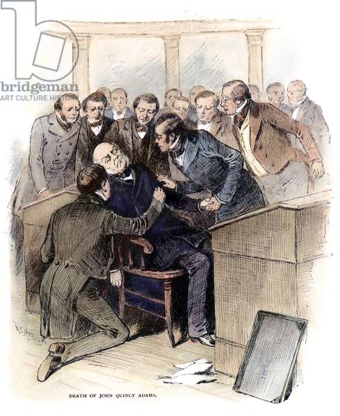 JOHN Q. ADAMS: DEATH, 1848 The collapse of Congressman and former U.S. President John Quincy Adams from a fatal stroke on the floor of the U.S. House of Representatives, 21 February 1848. Engraving, c.1880.