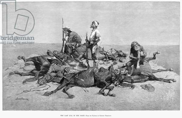 REMINGTON: BATTLE, 1889 'The Last Lull in the Fight.' Engraving after a painting by Frederic Remington, 1889.