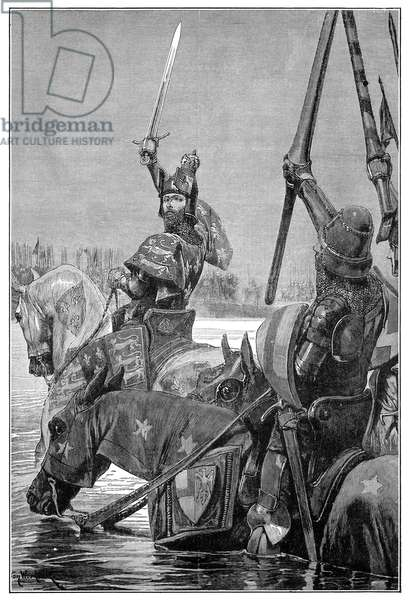 EDWARD III, 1346 King Edward III of England leading his cavalry across the Somme River in France during the Hundred Years' War, 25 August 1346. Wood engraving, American, 19th century.