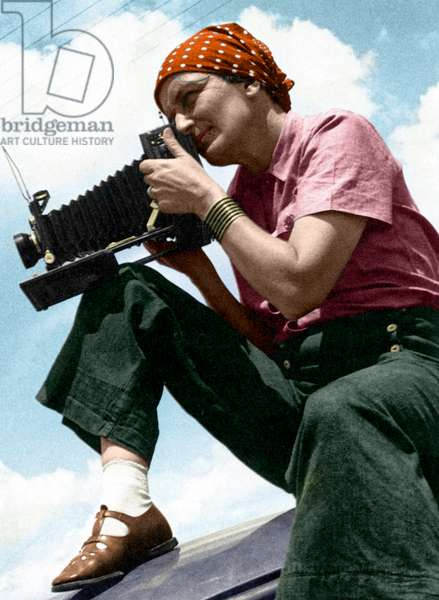 DOROTHEA LANGE (1895-1965) American photographer. Photograph by Paul Taylor, 1934, digitally coloured by Granger, NYC -- All Rights Reserved.