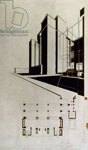 WRIGHT: LARKIN BUILDING Perspective and plan of Larkin Company Administration Building, Buffalo, New York, by Frank Lloyd Wright, 1904.