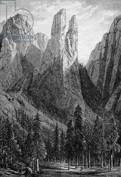 YOSEMITE: CATHEDRAL SPIRES Cathedral Spires rock formation in the Yosemite Valley. Wood engraving, American, 1874.