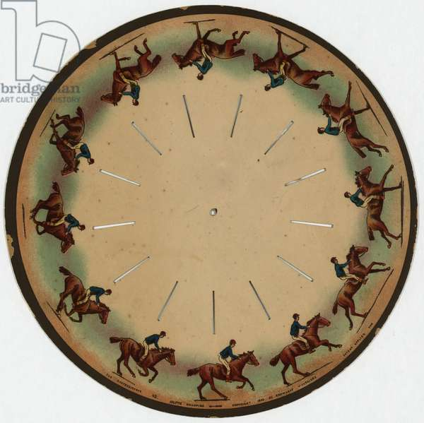 ZOOPRAXISCOPE, c.1893 A zoopraxiscope made by Eadweard Muybridge, showing a horse galloping. Lithograph, c.1893.