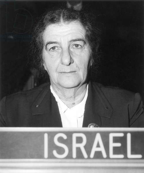 GOLDA MEIR (1898-1978) Israeli stateswoman. At United Nations Headquarters in New York when Minster for Foreign Affairs of Israel, 1956.
