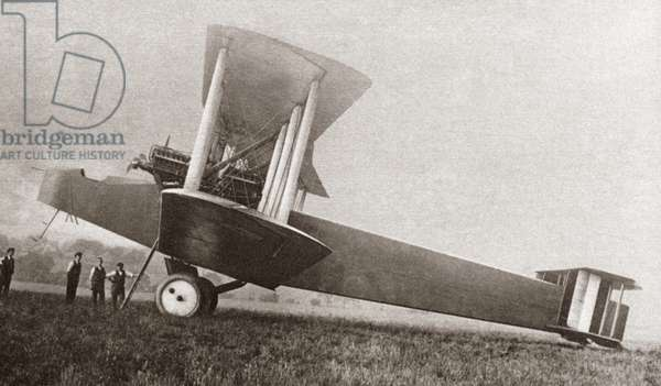 WWI: BRITISH BOMBER The Handley-Page Type O biplane bomber used by the British during World War I. Photograph, c.1916.