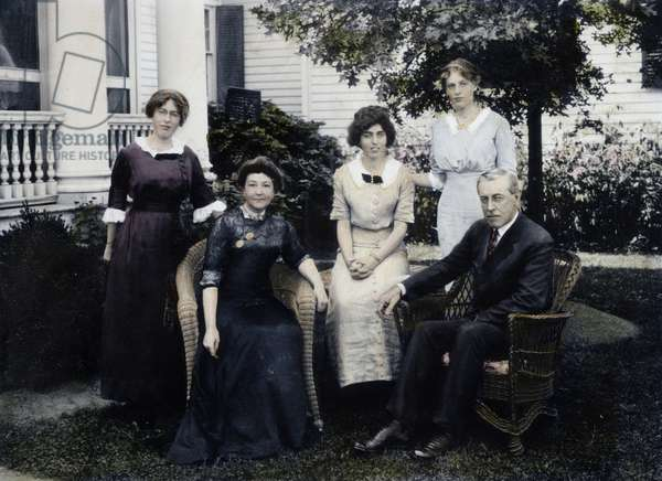 WOODROW WILSON FAMILY Left to right: Margaret, Mrs Wilson, Eleanor, Jessie and Governor Wilson: oil over a photograph, 1912.