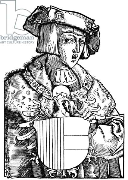 CHARLES V (1500-1558) Holy Roman Emperor (1519-1556) and King of Spain as Charles I (1516-1556). Wood cut, 1521, by Albrecht Durer.