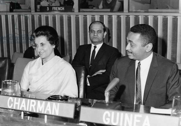 Indira Gandhi, Indian Prime Minister and  Guinean delegate Achkar Marof at the United Nations in New York, 1966 (b/w photo)