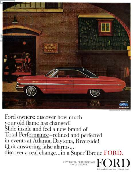 AD: FORD, 1963 American advertisement for Ford. Illustration, 1963.
