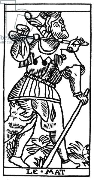 TAROT CARD: THE FOOL 'The Fool (Atonement).' Woodcut, French, Marseille, 16th century.