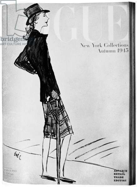 VOGUE MAGAZINE, 1945 Cover of the 1 September 1945 issue of the American edition of 'Vogue' magazine, featuring an illustration by 'Eric' (Carl Erickson).