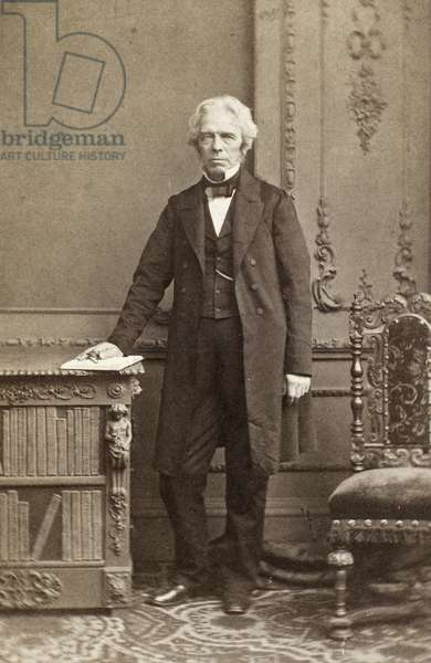 MICHAEL FARADAY (1791-1867) English chemist and physicist. Original carte-de-visite photograph, c.1860.