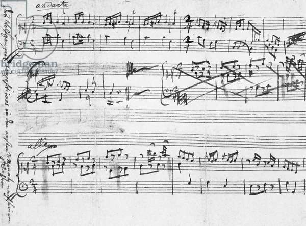MOZART: EARLY MANUSCRIPT One of Wolfgang Amadeus Mozart's earliest works (Koechel catalogue no. la-d), composed in 1761 at age five and written down for him by his father, Leopold Mozart.