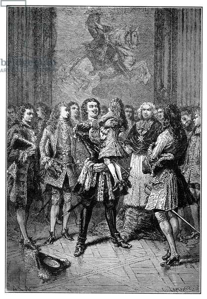 PETER I (1672-1725) Czar of Russia, 1682-1725. Peter embraces the young King Louis XV at Versailles palace during his visit to France in 1716. Line engraving, 19th century.