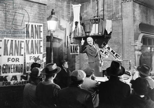 FILM: CITIZEN KANE, 1941 Joseph Cotten stumping for Kane (Orson Welles) in a scene from the 1941 motion picture 'Citizen Kane.'