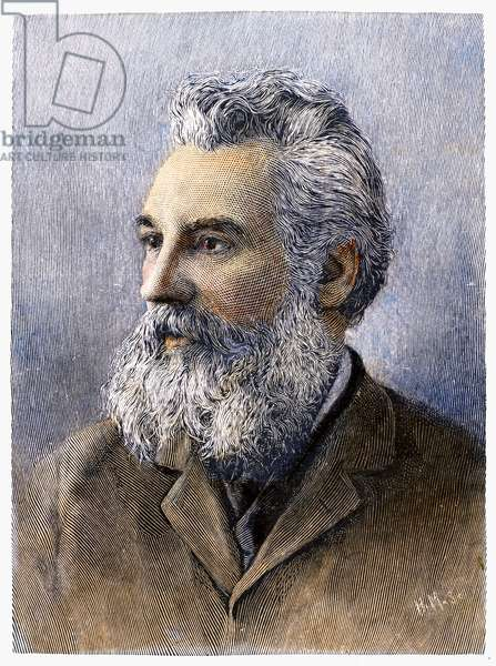 ALEXANDER GRAHAM BELL (1847-1922). American (Scottish-born) teacher and inventor. Wood engraving, American, 1896.