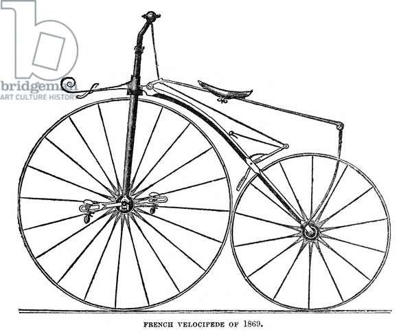 VELOCIPEDE, 1869 Contemporary diagram of a French velocipede.