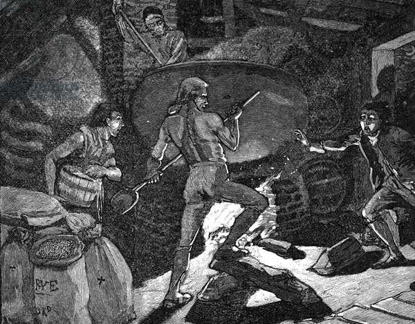 WHISKEY REBELLION, 1794 A 19th century wood engraving depicting an illicit still in Western Pennsylavania during the rebellion.