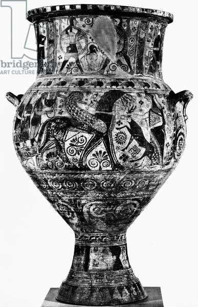 GREECE: KRATER, c640 B.C Krater with painting of Apollo's chariot drawn by winged horses. Ionian, c640 B.C.