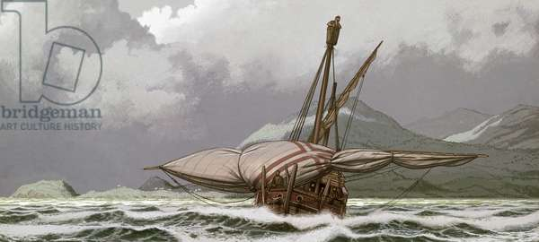 CARAVEL Caravel off the coast of Sierra Leone. Illustration by Bjorn Landstrom, 20th century.