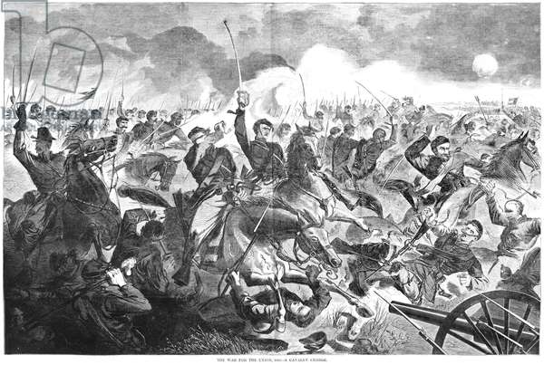 CIVIL WAR: CHARGE, 1862 'The War for the Union, 1862 - A Cavalry Charge.' Engraving, American, 1862.