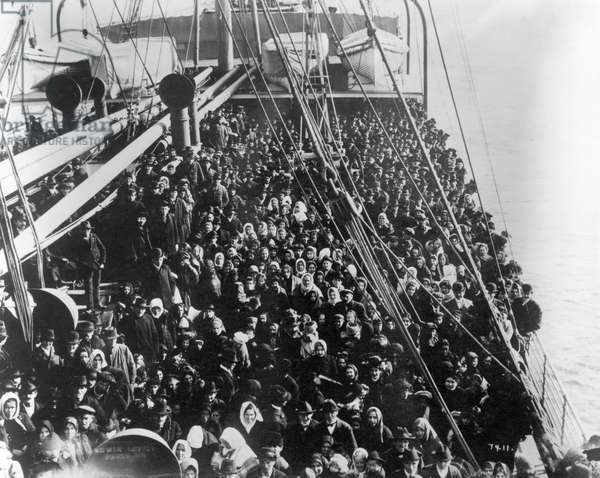 IMMIGRANT SHIP, 1906 Immigrants on the 'S.S. Patricia' in New York harbor en route to Ellis Island, 1906.