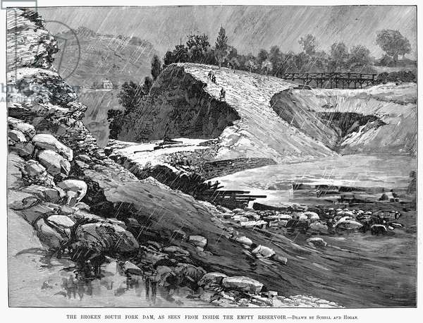 JOHNSTOWN FLOOD, 1889 The broken South Fork dam as seen from inside the empty reservoir during the flood in Johnstown, Pennsylvania. Wood engraving from a contemporary American newspaper.