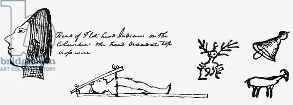 LEWIS AND CLARK These sketches, taken from the journal of Meriwether Lewis and William Clark, show a flat-headed Chinook, the method used to shape the skulls of infants, a rock painting, a Native American hat, and a bighorn sheep.