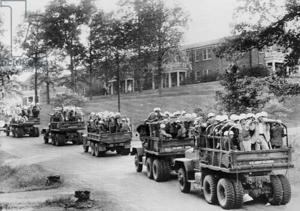 INTEGRATION: OLE MISS, 1962 Heavy military presence on the University of Mississippi campus in Oxford, Mississippi, brought in to protect James Meredith, the first black student. Photograph by Jerry Huff, 30 September 1962.