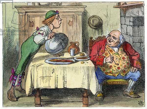 CARROLL: ALICE, 1865 'You are old, Father William' (Advice from a Caterpillar). Illustration by John Tenniel from the first edition of 'Alice's Adventures in Wonderland,' 1865.