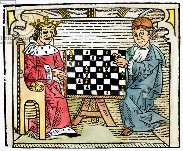 CESSOLIS: CHESS, c.1483 Woodcut from Jacobus de Cessolis' 'The Game and Playe of the Chesse,' printed by William Caxton, c.1483.