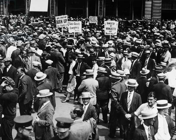 SACCO AND VANZETTI, 1927 A demonstration in Union Square in New York City, 9 August 1927, in support of freeing Nicola Sacco and Bartolomeo Vanzetti, Italian-American anarchists believed to have been wrongly convicted of murder and robbery in 1921.