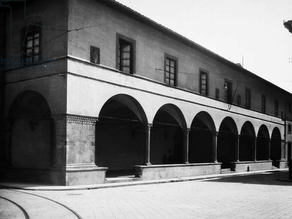 FLORENCE: ACADEMY View of the loggia of the Adademia di Belle Arti (Academy of Fine Arts) in Florence, Italy. Photographed in 1936.