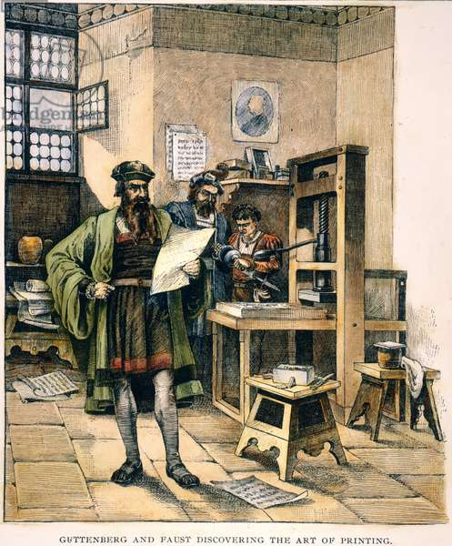 JOHANN GUTENBERG ( c.1395-1468) and his partner, Johann Fust, with their printing press at Mainz: wood engraving, 19th century.