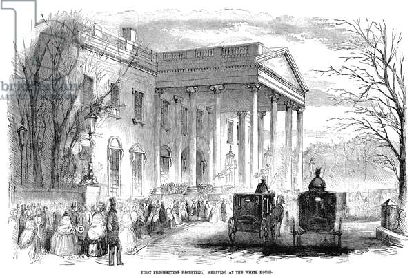 WHITE HOUSE: RECEPTION Guests arriving at the White House for the first reception held by President James Buchanan, 6 March 1857. Contemporary American wood engraving.