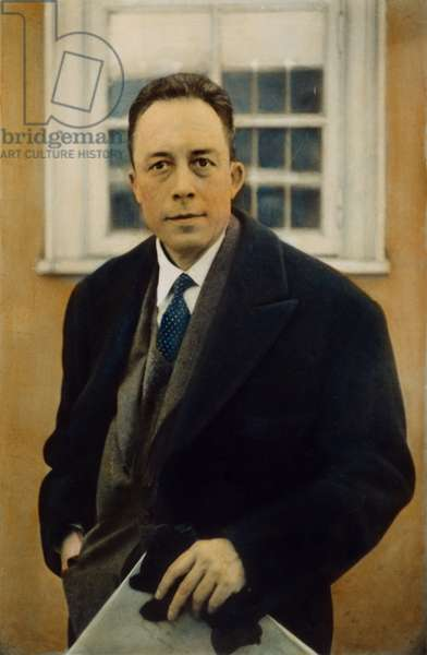 ALBERT CAMUS (1913-1960) French novelist, essayist, and playwright: oil over a photograph.