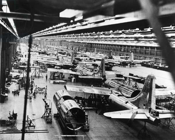 BOEING B-29 FACTORY, c.1945 Assembly room for the Boeing B-29 Superfortress, built for the U.S. Air Force. Photograph, c.1945.