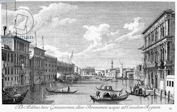 VENICE: GRAND CANAL, 1742 The Grand Canal in Venice, Italy, looking northwest from the Palazzo Vendramin-Calergi to St. Geremia and the Palazzo Glangini. Line engraving, 1742, by Antonio Visentini after Canaletto.